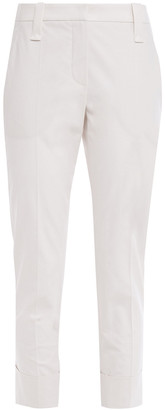 Brunello Cucinelli Cropped Stretch-cotton Tapered Pants