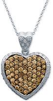 LeVian Le Vian Chocolatier Diamond Pave Heart Pendant Necklace (1-7/8 ct. t.w.) in 14k White Gold