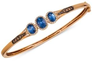 LeVian Le Vian Chocolatier Blueberry Tanzanite (1-1/3 ct. t.w.) & Diamond (1/2 ct. t.w.) Bangle Bracelet in 14k Rose Gold