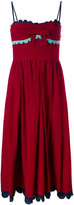 RED Valentino scalloped detail flared dress - women - Silk/Polyester - 40