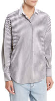Brunello Cucinelli Cotton Poplin Metallic-Striped Long-Sleeve Blouse
