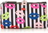 LULU GUINNESS Stripe Lip Blot Double Make-up Bag