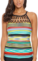 Zesica Women's Tankini Tops Multi - Teal & Yellow Abstract-Stripe Cutout-Neckline Tankini Top - Women & Plus