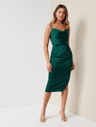 Forever New Laura Satin Cowl-Neck Ruched Midi Dress - Emerald Green - 16