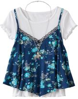 Knitworks Girls 7-16 Floral Tank Top & Ruffled Tee Set with Necklace