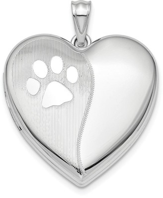 Curata 24mm 925 Sterling Silver Rhodium plated Satin and Polished Dog Cat Pet Paw Prints Ash Holder Love Heart Pendant Necklace