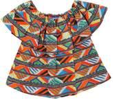 Stella Jean Maasai Ruffle Cotton Poplin Top