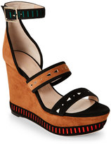 Tamara Mellon Tan & Black Zabriskie Tribal Platform Wedge Sandals
