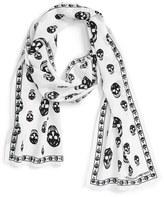 Alexander McQueen Women's Skull Print Silk Crepe Scarf