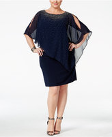 Xscape Evenings Plus Size Beaded Cold-Shoulder Overlay Dress