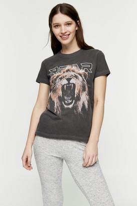 Topshop Womens Black Roar Tiger T-Shirt - Black