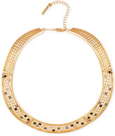 T Tahari Gold-Tone Scattered Crystal Grid Collar Necklace