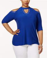 Belldini Plus Size Mock-Neck Embellished Off-The-Shoulder Top