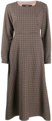 Max Mara checkered long-sleeved flared dress