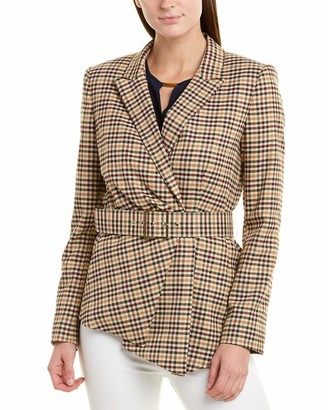 Tahari ASL Women's Belted Asymmetric Checked Plaid Jacket