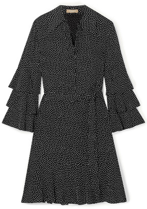 Michael Kors Collection Belted Tiered Polka-dot Silk-crepe Mini Dress