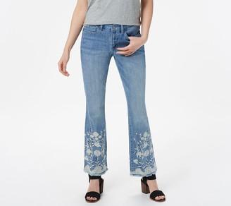 Laurie Felt Petite Classic Denim Embroidered Hem Boot-Cut Jeans