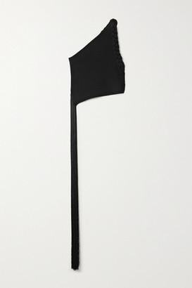 Helmut Lang One-shoulder Braided Fringed Ribbed-knit Top - Black