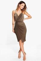 Boohoo Evie Wrap Detail Plunge Slinky Midi Dress