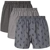 John Lewis & Partners Owl Cotton Chambray Boxers, Pack of 3, Grey