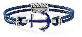David Yurman Men's Maritime Sterling Silver, Lapis Lazuli & Braided Blue Leather Anchor Station Bracelet