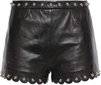 RED Valentino Scalloped Studded Leather Shorts