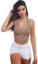 Imixshop Women Backless Halter Cami Tank Vest Slim Crop Tops Yoga Gym Fitness (L, )