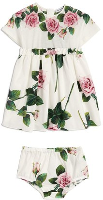 Dolce & Gabbana Kids Tropical Rose Poplin Dress and Bloomers (3-30 Months)