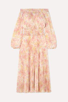 Prada Off-the-shoulder Shirred Floral-print Plisse-satin Maxi Dress - Yellow