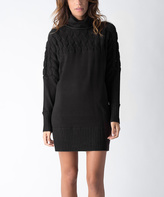 Yuka Paris Black Cable-Knit Turtleneck Sweater Dress