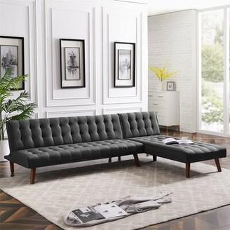 "Ebern Designs Ajia 100"" Reversible Sleeper Sofa & Chaise Fabric: Gray"