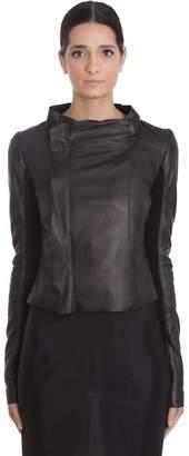 Rick Owens Low Neck Biker Leather Jacket In Black Leather