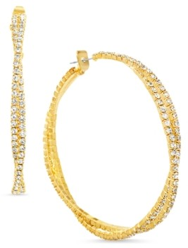 "Steve Madden Gold-Tone Medium Crystal Twisted Double Hoop Earrings, 2.04"""