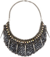 Deepa Gurnani Gunmetal Spiked Scalloped Necklace