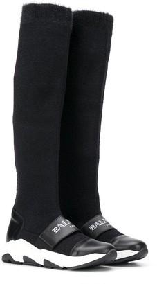 Balmain Kids logo trainer boots
