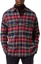 Topman Check Drop Shoulder Flannel Shirt