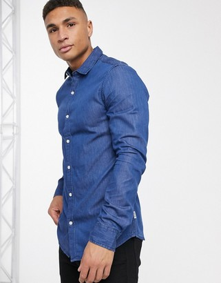 ONLY & SONS long sleeve denim shirt-Blue