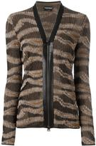 Tom Ford zipped cardigan - women - Lamb Skin/Polyester/Viscose - L