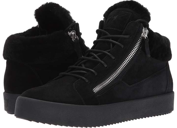 Giuseppe Zanotti May London Mid Top Shearling Sneaker Men's Lace up casual Shoes