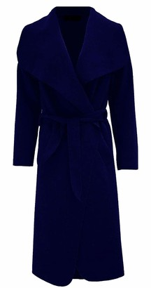 Italian Fashion Womens Italian Long Duster Jacket Ladies French Belted Trench Waterfall Coat (Navy ONE Size (8-20))
