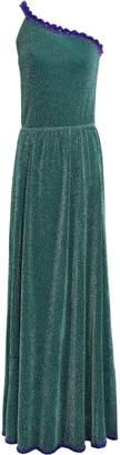 Missoni One-shoulder Crochet-trimmed Metallic Knitted Maxi Dress