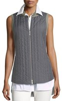 Lafayette 148 New York Bailey Alpine Outerwear Quilted/Flannel Combo Vest