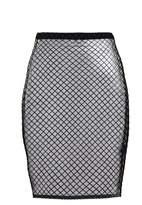 Quiz Black Grid Print Mesh Midi Skirt