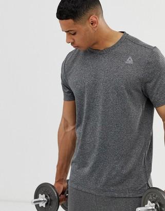 Reebok work out ready melange tech t-shirt in dark gray