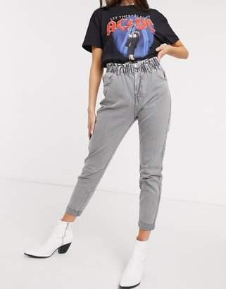 Bershka elasticated waist slouchy jean in washed grey