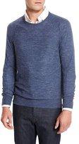 Neiman Marcus Wool-Linen Athletic Sweater, Denim