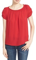 Joie Women's Hira Smocked Detail Silk Peasant Top
