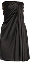 Dolce & Gabbana Strapless Draped Stretch-Satin Mini Dress
