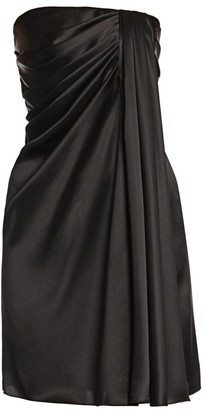 Dolce & Gabbana Strapless Draped Stretch-Satin Mini Dress