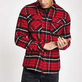Mens Red check long sleeve over shirt